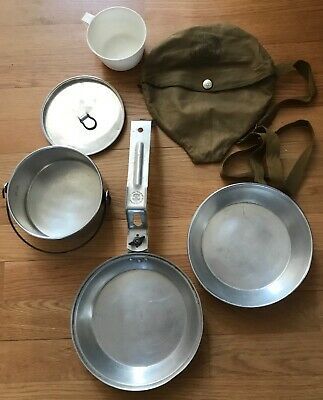 Vintage 1960's Boy Scout Camping Mess Kit Aluminum Cooking Set w/Cloth Carry bag