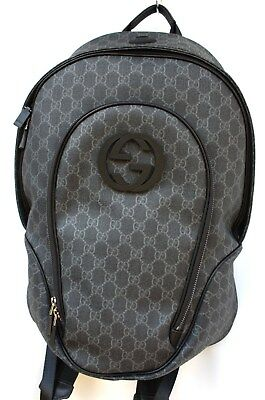 4fac7273c89 GUCCI GG Plus Supreme Canvas Interlocking G Backpack Black Zaino
