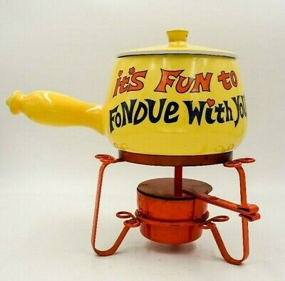 Vintage 70's FONDUE SET Ceramic MOD mid century Kitsch Hippie Boho YELLOW orange