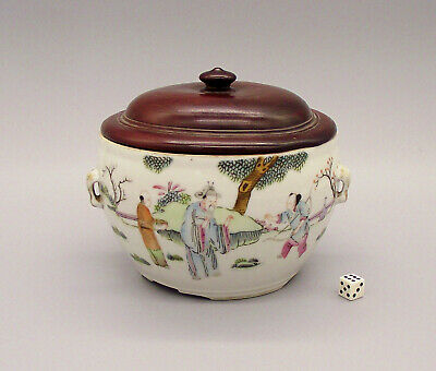 Very Fine Antique Chinese Qianjiang Famille Rose Porcelain Pot With Hardwood Lid