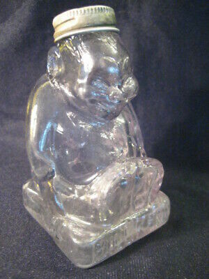 Antique Billiken Glass Candy Container Jar w Lid Pale Sun Colored Amethyst God