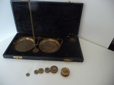 Anique Vintage Brass Pocket Weighing Scales for either precious metal or stones