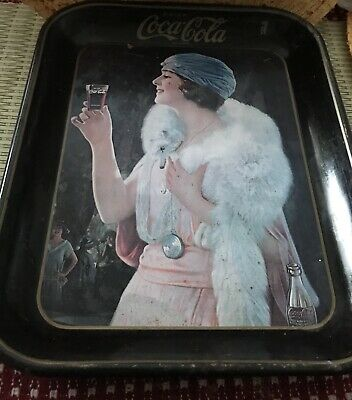 Authentic 1925 Flapper Party Girl Coca-Cola Advertising Serving Tray Coke