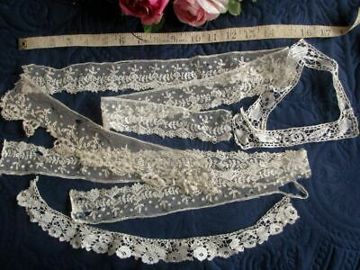 ANTIQUE LOT FINE HAND MADE LACE TRIM~HONITON~BRUSSELS APPLIQUE etc~AS IS~REWORK