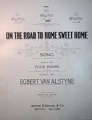 WWI Antique Vocal Sheet Music ON THE ROAD TO HOME SWEET HOME 1917 Large Format