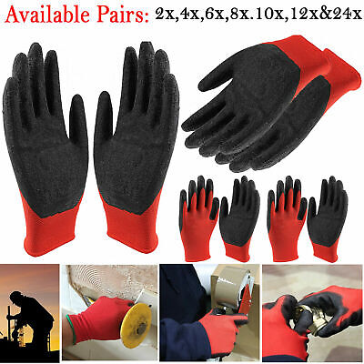 1/12 or 24 PAIRS NEW LATEX COATED NYLON WORK GLOVES SAFETY GARDEN GRIP BUILDERS