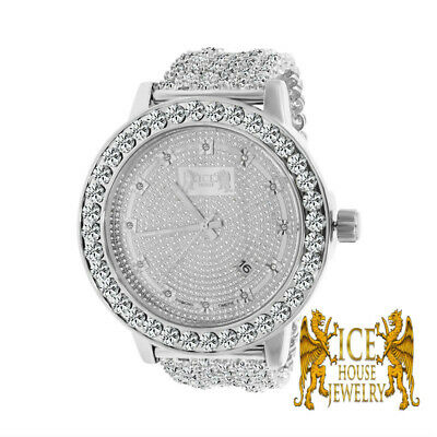 Premium Khronos Custom Watch Real Diamond White Gold Finish Iced Out Band Bezel