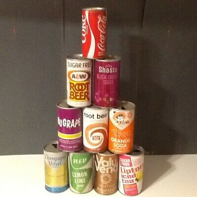 Mixed Lot of 10 Vintage Soda & Like Cans #32