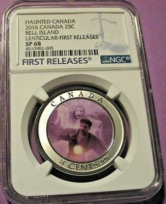 2016 Ngc Sp 68 Haunted Canada Bell Island Lenticular Quarter First Releases