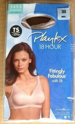 3fb7abcc7cbb2 Playtex 18 Hour Bra 38B Sandshell 5453 Wirefree Fittingly Fabulous with Lift
