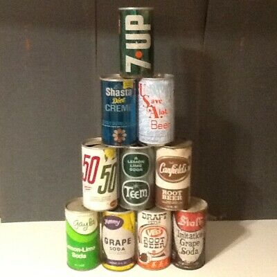 Mixed Lot of 10 Vintage Soda & Like Cans #36