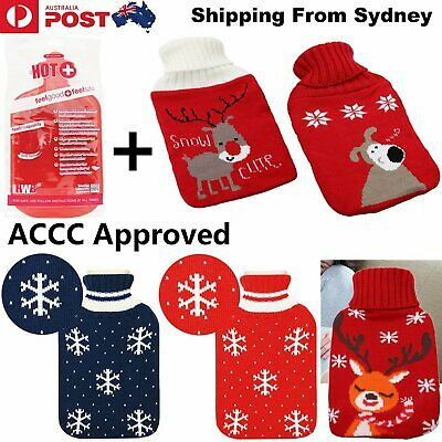 Hot Water Bottle With Knitted Cover Warmer Heat Soft Large Rubber Bag 3 Colours