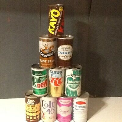 Mixed Lot of 10 Vintage Soda & Like Cans #34
