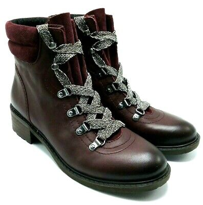 5b060e99f Sam Edelman Darrah Womans Leather Combat Ankle Boots Lace Up Red Burgundy  US 7