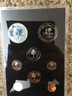 Bahrain 8 Coin Proof Set with Silver 500 Fils, 1965 1969