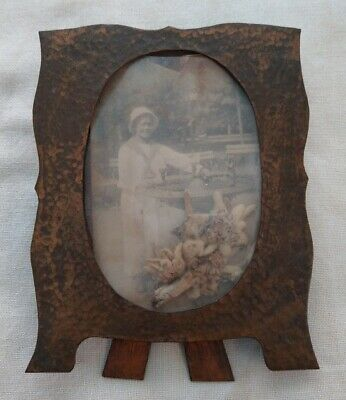 VTG Mission Arts & Crafts Hammered Copper Picture Frame Art Nouveau Transition