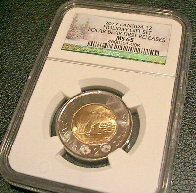 2017 Canada Ngc Ms 65 Polar Bear $2 First Releases Holiday Gift Set Label Toonie