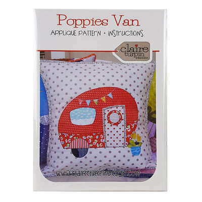Poppies Van Cushion Pattern by Claire Turpin Design Quilting Sewing Craft DIY