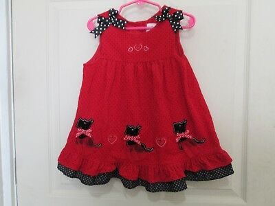 f19f75a89c21 RARE EDITIONS Girl Toddler Red Corduroy Polka Dot Scottie Dogs Jumper Size  24M