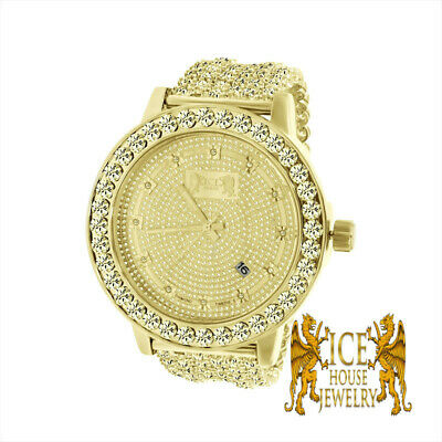 Men Khronos Real Diamond Round cut Canary Gold Finish Custom Iced Out Band Bezel