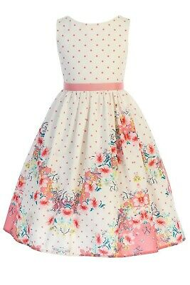 Coral Pink Polka Dot Girls Cotton Easter Dress w. Floral Print Sizes 2T to 12