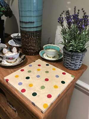 Emma Bridgewater Polka Dot decorated tile, pot stand, decoupage
