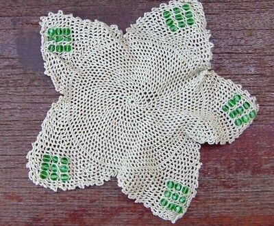 Vintage Green Glass Beaded Hand Crochet Jug Cover / Doilly