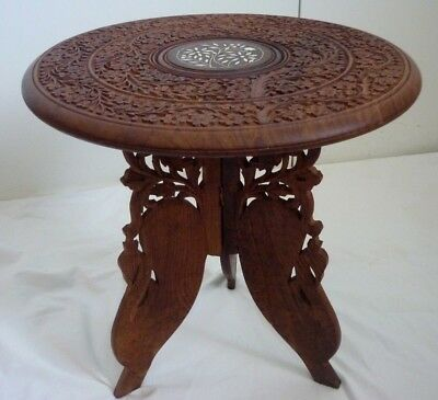 Vintage, Indian Wooden hand Carved, Folding, Side Table
