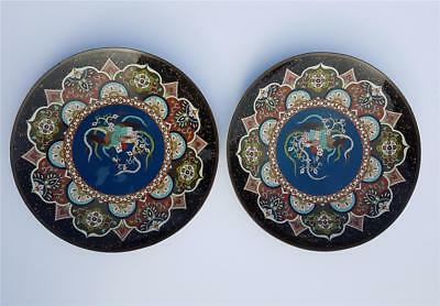 Large Pair Of Antique Japanese Meiji Period Pheonix Cloisonne Chargers/plates