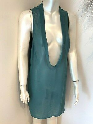 NICOLA WAITE Teal Green Chiffon Layering Long Tunic Top Size 3 (16)
