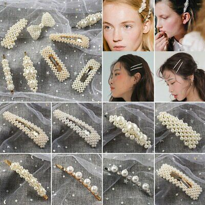 Charm Womens Pearl Hair Clip Snap Barrette Stick Hairpin Hair Accessories Gift