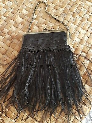 Black Feather Gatsby  Style Purse