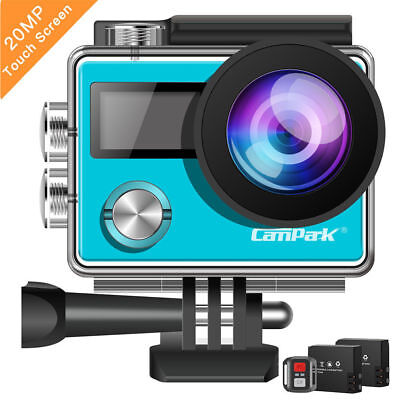 Campark Action Camera 4K 20MP Touch Screen Dual Screen Remote Control Sports Cam