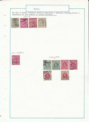 Natal South Africa page of early MM and used stamps