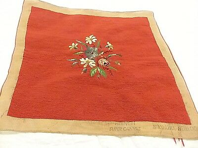 Vintage French Flower Tapestry - Marked France Hiawatha Heirloom French Canvas