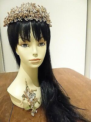 ANTIQUE - VICTORIAN - FRENCH WAX WEDDING TIARA - HEADPIECE - 1920's LOOK