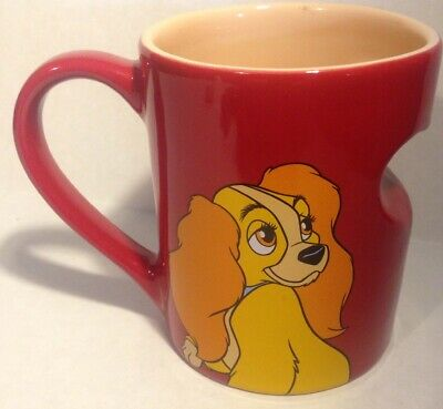NEW Disney Parks Lady Ceramic Coffee Mug Red Heart (matches Tramp)
