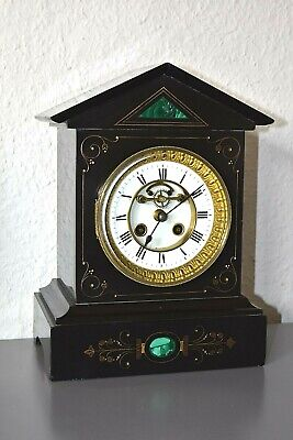 Victorian slate/marble French mantle clock. Working order.