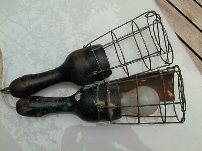 A Pair of Classic Vintage Industrial Cage Lights / Lead Light in great condition