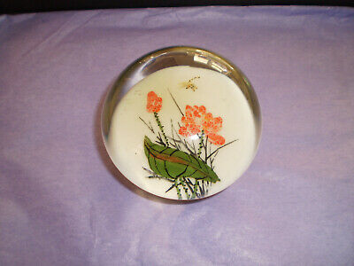 1930's CHINESE WHITE GLASS DRAGONFLY PAPERWEIGHT