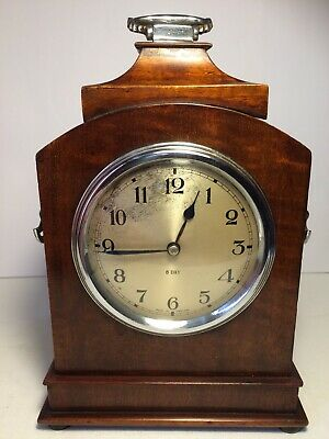 Attractive Edwardian Inlaid Mahogany  Mantle Clock Made In England Working