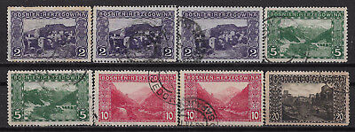 1906 Bosnia and Herzegovina Set of 8 used stamps (Michel # 30,32,34,35)