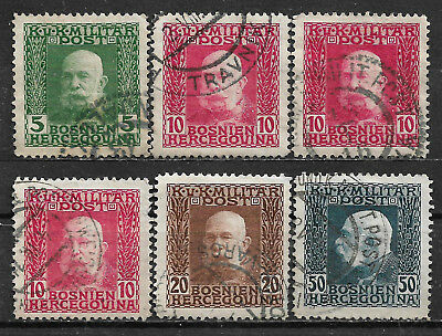 1912 Bosnia and Herzegovina Set of 6 used stamps (Michel # 67,69,71,77)