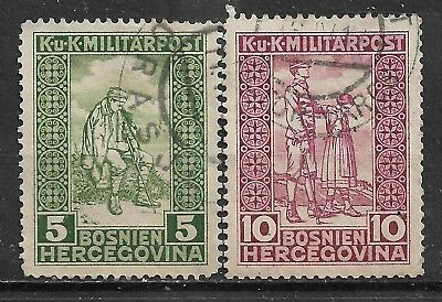 1916 Bosnia and Herzegovina Complete Set of 2 used stamps (Michel #97,98) CV €6.