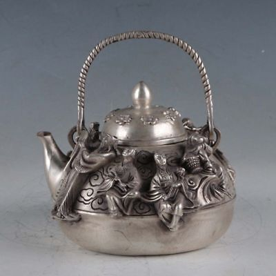 Chinese Tibetan silver hand carved Eight Immortals Teapot w Daming Xuande Marks