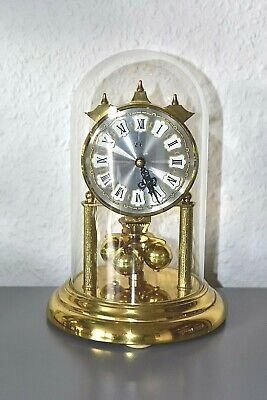 EL  S.Haller glass dome mantle clock. Made in Germany. Brass.