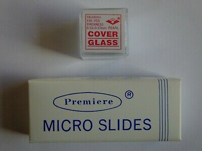 Microscope slides w/concavity (12) with 100 glass covers, clean & unused