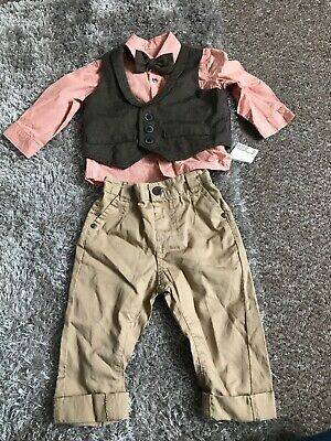 Boys 6-9 Month Smart Set Trousers, Shirt And Waistcoat With Dicky Bow Mothercare