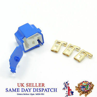 Female Ceramic 3 Pin H4-2B Bulb Holder & 3 Terminals Connector Housing Cover