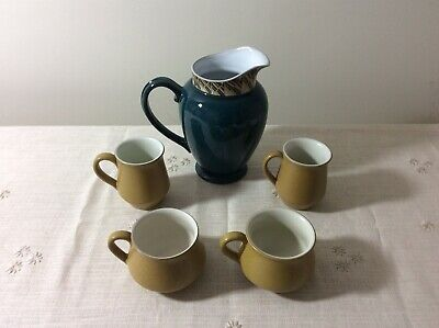 Denby - Job Lot -Greenwich Accent 2 Pint Jug-4 Ode Coffee Mugs with Saucers